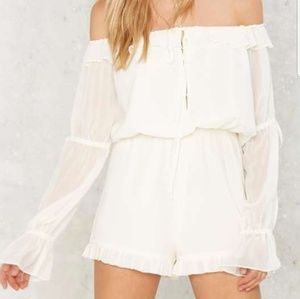 Nasty Gal Drifter White Ruffle Romper Size Small